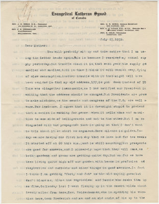 Letter from C. H. Little to Candace Little, July 23, 1939