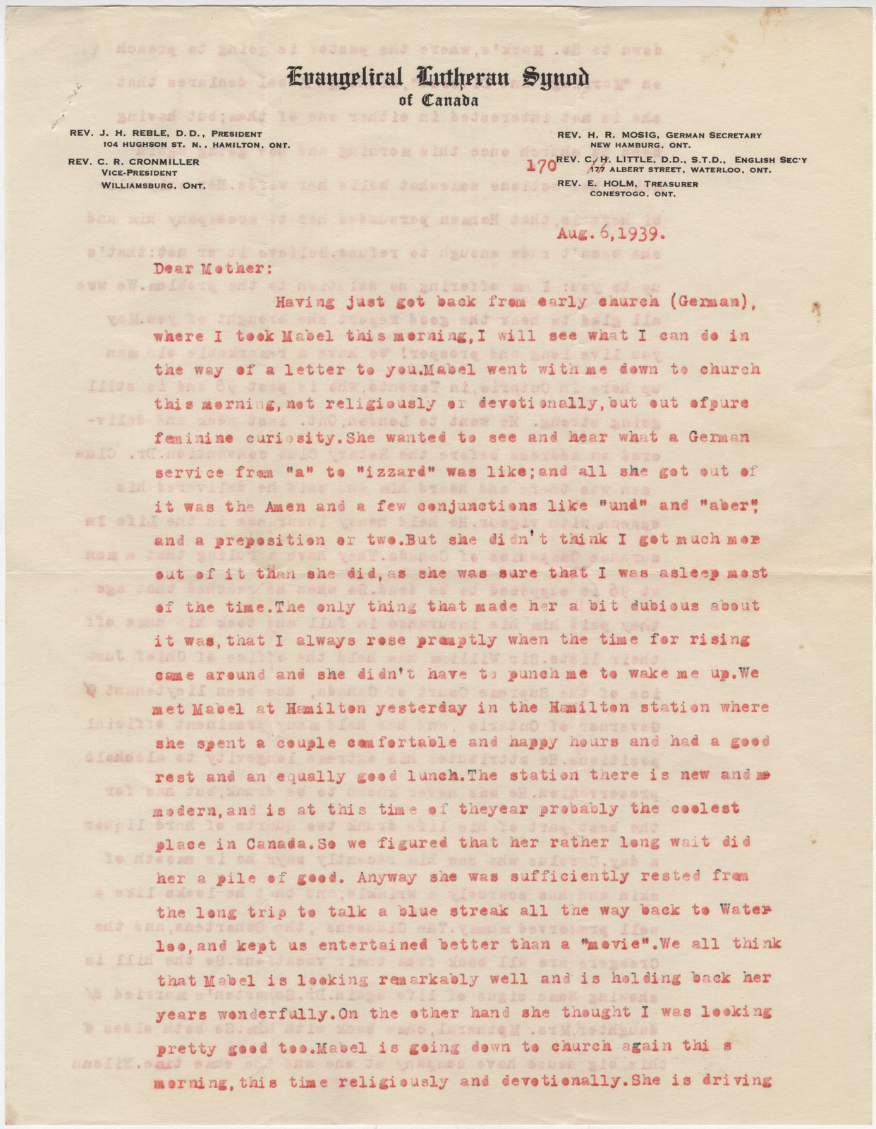 Letters from C. H. Little to Candace Little, August 6, 1939
