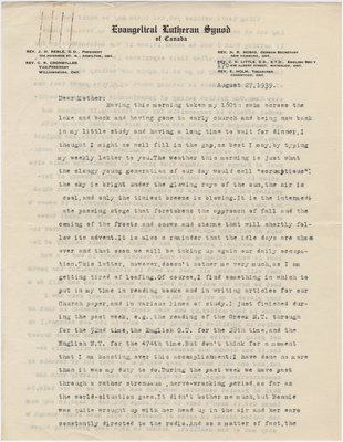 Letter from C. H. Little to Candace Little, August 27, 1939