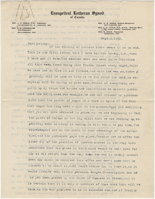 Letter from C. H. Little to Candace Little, September 9, 1939