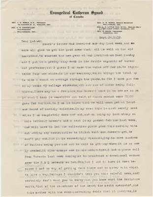 Letter from C. H. Little to Candace Little, September 24, 1939