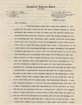 Letter from C. H. Little to Candace Little, September 30, 1939