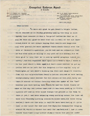 Letter from C. H. Little to Candace Little, October 14, 1939