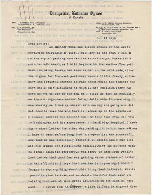 Letter from C. H. Little to Candace Little, October 21, 1939