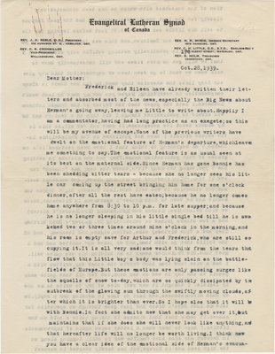 Letter from C. H. Little to Candace Little, October 28, 1939