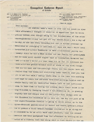 Letter from C. H. Little to Candace Little, November 4, 1939