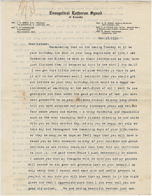 Letter from C. H. Little to Candace Little, November 18, 1939
