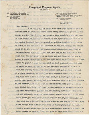 Letter from C. H. Little to Candace Little, November 24, 1939