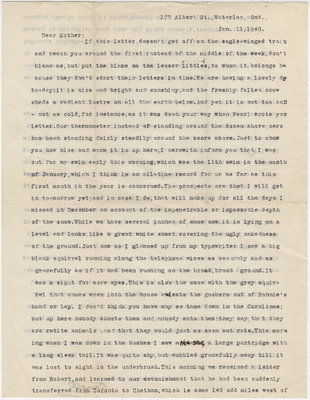 Letter from C. H. Little to Candace Little, January 11, 1940