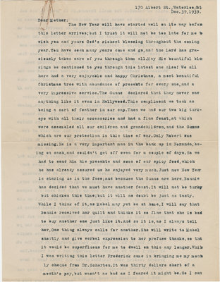 Letter from C. H. Little to Candace Little, December 30, 1939