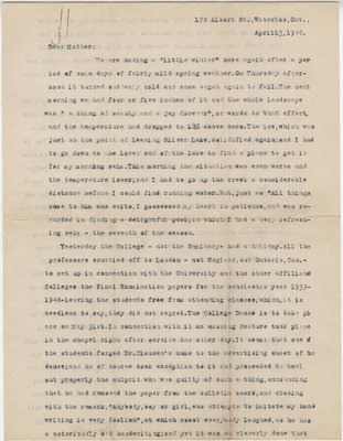 Letter from C. H. Little to Candace Little, April 13, 1940