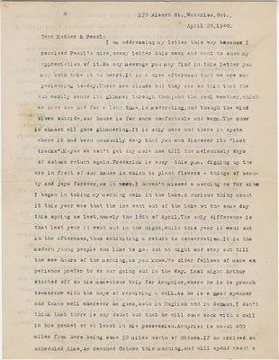 Letter from C. H. Little to Candace Little, April 20, 1940