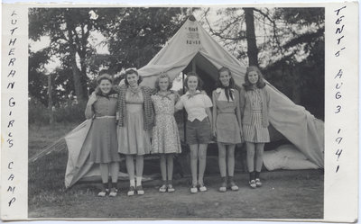 Campers in front of a tent, Lutheran Girls Camp at Fisher's Glen, 1941