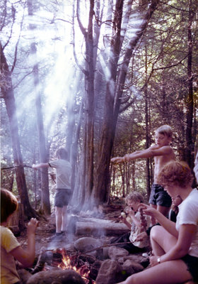 Roasting marshmallows, Camp Edgewood, 1977