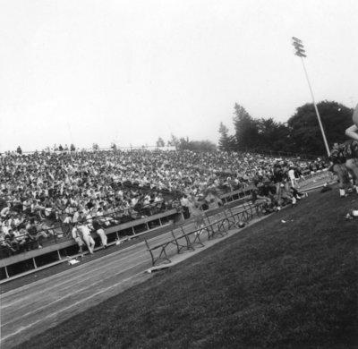Crowd at Seagram Stadium, Waterloo Lutheran University