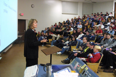 Laura Allan giving a presentation to potential students on Laurier Day, 2002