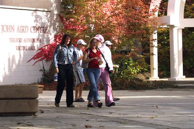 Students walking outside of John Aird Centre, 2003