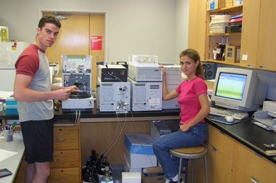 Students in biology lab, 2002