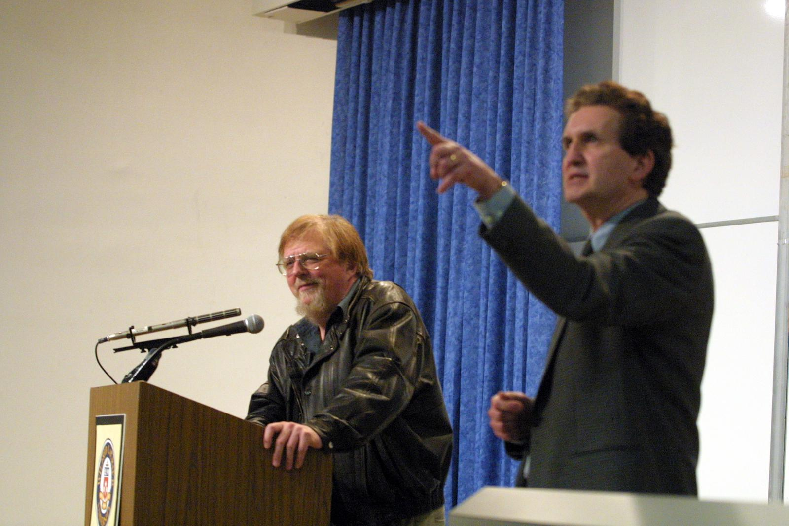 Gwynne Dyer and Robert Campbell during lecture