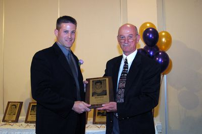 Mark McCreary and Wayne Gowing at 2003 Golden Hawk Hall of Fame induction ceremoney