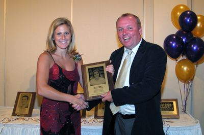 Karen Conboy and Barry MacLean at 2003 Golden Hawk Hall of Fame induction ceremony