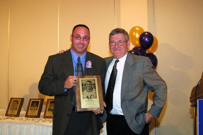 Tim Bisci and Rich Newbrough at 2003 Golden Hawk Hall of Fame induction ceremony