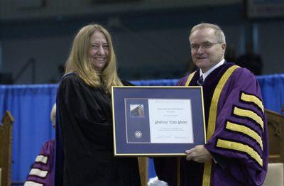 Linda Parker receiving the University Research Professor award, Fall Convocation 2003