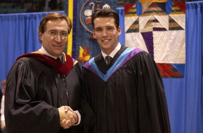 Kirby and Robert Schlegel at Wilfrid Laurier University Fall Convocation 2003