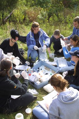 Students on a biology field trip, 2003