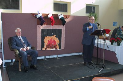 Robert Rosehart and Fred Nichols at seasonal lunch, 2001