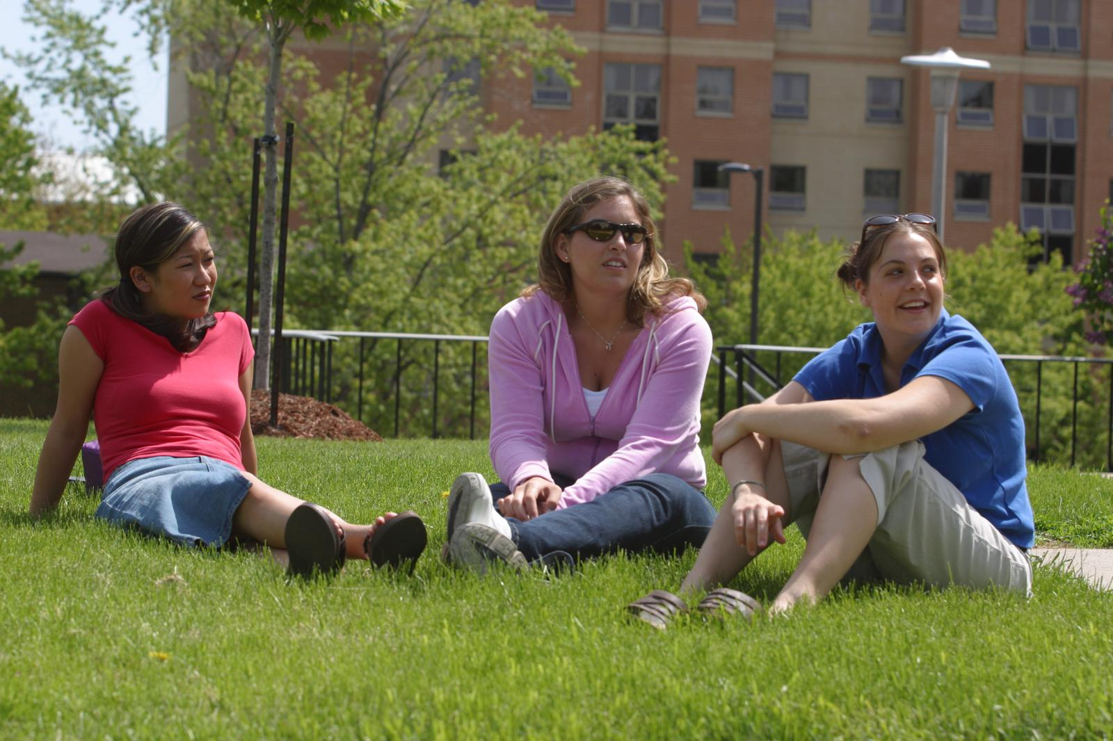 Students sitting on campus, 2003