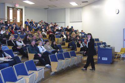 Ruth Cruikshank speaking at Laurier Day, 2002