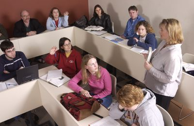 Students in classroom at Laurier Brantford, 2002