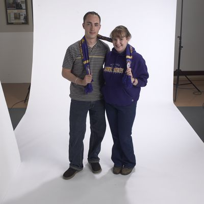 Students wearing Laurier attire, 2002