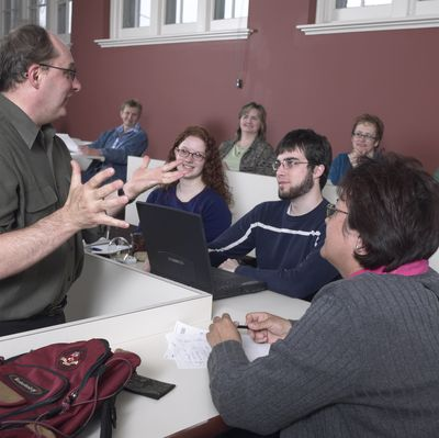 Students in Laurier Brantford classroom, 2002