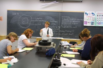 Students in science lab, 2001