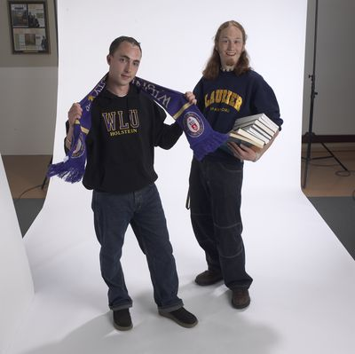 Students posing in Laurier attire, 2002