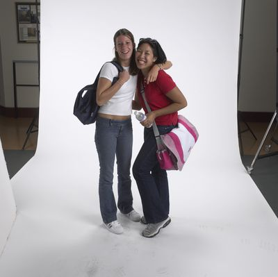 Two female students posing together Laurier Brantford, 2002