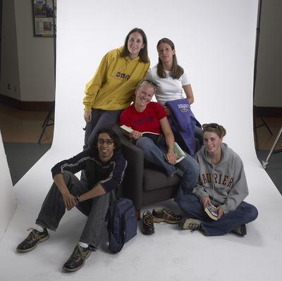 Students posing together Laurier Brantford, 2002