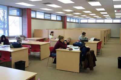 Students studying in the library, 2004