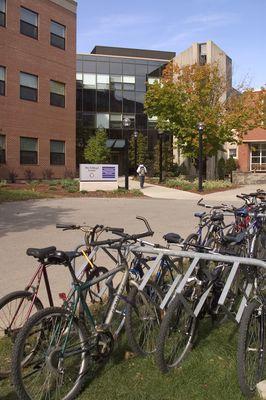 Bike rack in front of Schlegel Centre, fall 2004