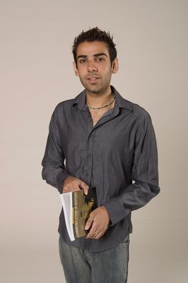 Student posing with book, 2004