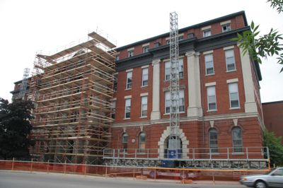 Construction on outside of St. Jerome's building, 2005