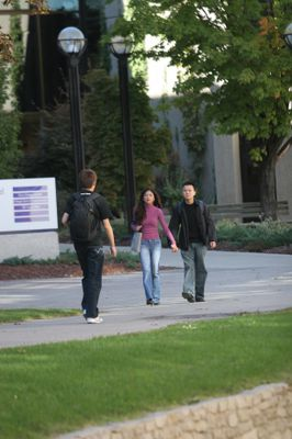 Students walking across campus, 2005