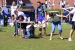 First year students completing obstacle course during Orientation Week, 2004