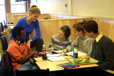 Students studying in the dining hall, 2002