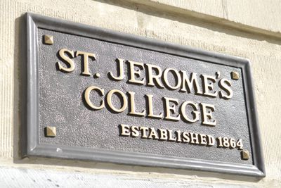 St. Jerome's plaque outside Faculty of Social Work, 2006