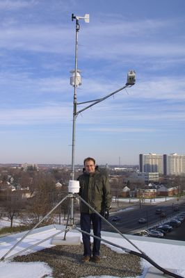 Richard Petrone with weather instrument, 2003
