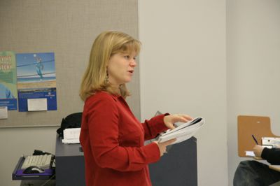 Kathy Caswy lecturing, 2006