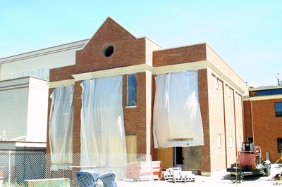 Exterior of dining hall construction, 2002